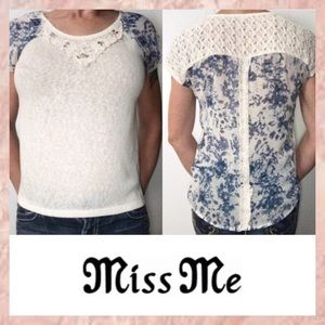 Miss Me Ivory Blue Mixed Media Beaded Top Small S